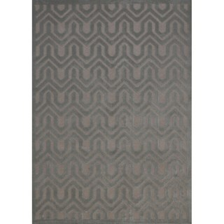 Rug Squared Montrose Silver/ Green Geometric Area Rug (7'9 x 10'10)