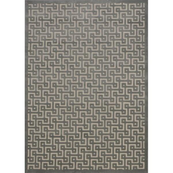 Rug Squared Montrose Ivory Green Geometric Area Rug (5'3 x 7'3)