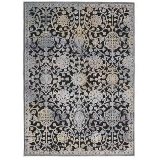 Rug Squared Princeton Black Ivory Print Area Rug (5'3 x 7'3)