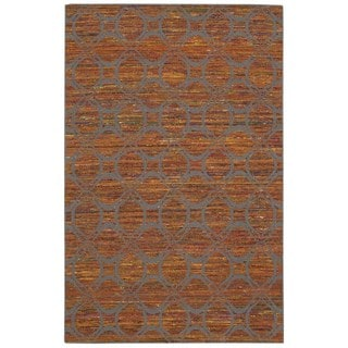 Rug Squared Olympia Flame/ Grey Graphic Area Rug (8' x 10'6)