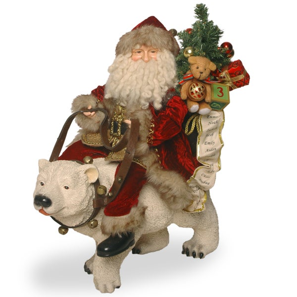 20-inch Polar Bear with Santa