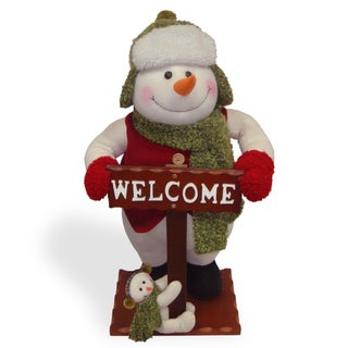 26-inch Snowman with Welcome Sign