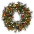 24-inch Wintry Pine Wreath with Clear Lights