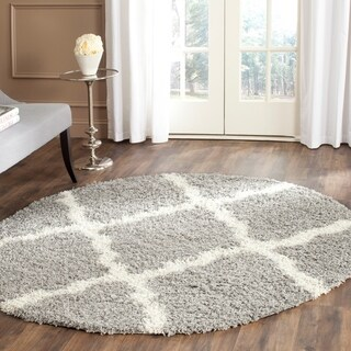 Safavieh Dallas Shag Grey/ Ivory Rug (6' Round)