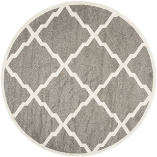 Safavieh Indoor/ Outdoor Amherst Dark Grey/ Beige Rug (7' Round)