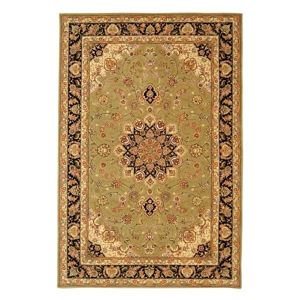 Safavieh Handmade Persian Court Sage/ Navy Wool/ Silk Rug (4' x 6')