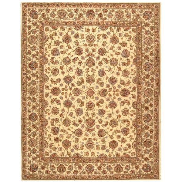 Safavieh Handmade Persian Court Ivory/ Ivory Wool/ Silk Rug (4' x 6')