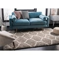 Safavieh Hudson Ogee Shag Grey Background and Ivory Rug (3' x 5')