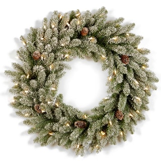 36-inch Snowy Concolor Fir Wreath with Clear Lights