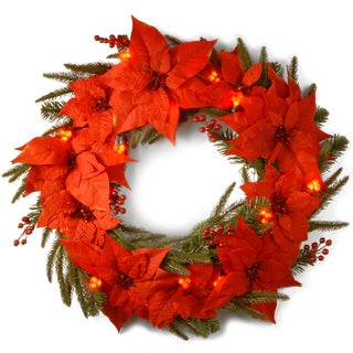 30-inch Snowy Concolor Fir Wreath with Clear Lights