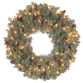 24-inch Poinsettia Wreath with Red Cluster LED Battery Operated Lights