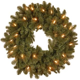 24-inch Oakridge Blue Wreath with Clear Lights