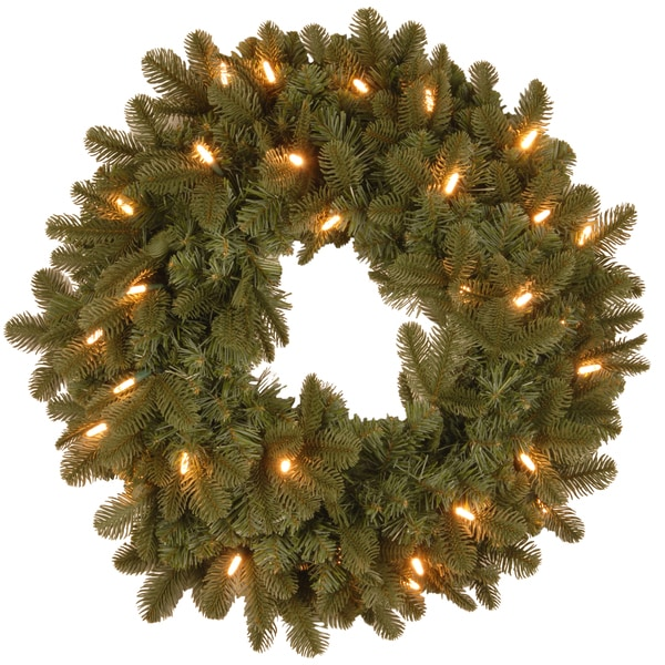 24-inch Oakridge Blue Wreath with Clear Lights