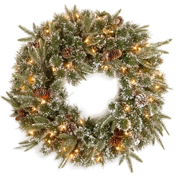 '24' Feel-Real Liberty Pine Wreath with Snow and Pine Cones with 50 Clear Lights