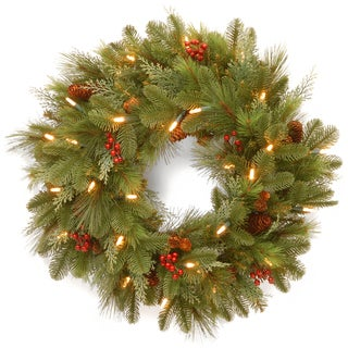 24-inch North Valley Spruce Wreath with Clear Lights
