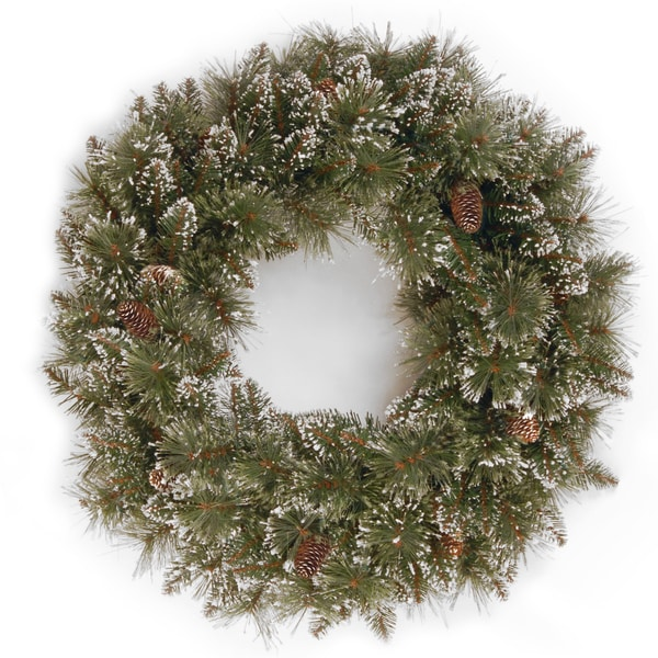 24 inch Glittery Bristle Pine Wreath with Clear Lights   16767864