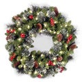 30-inch Decorative Collection Noble Mixed Wreath with Battery Operated Warm White LED Lights