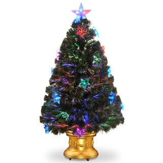 36-inch Fiber Optic Fireworks Tree with Clear Star/ Gold Column Urn with LEDs Inside