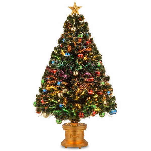 48-inch Fiber Optic Fireworks Glittered Balls Red, green, blue and Yellow Ornament Tree with Gold Top Star