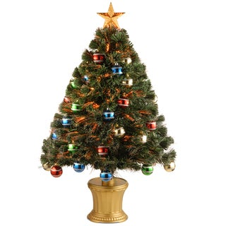 36-inch Fiber Optic Fireworks Glittered Balls Red, green, blue and Yellow Ornament Tree with Gold Top Star