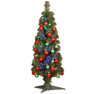 36-inch Fiber Optic Fireworks Green/Red Matte Shiny Ornament Tree in a Green Plastic Stand