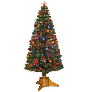 72-inch Fiber Optic Fireworks Red, green, blue and Gold Fiber Inner Ornament Tree with Top Star