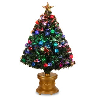 36-inch Fiber Optic Fireworks Multicolored Fiber Inner Ornament Tree with Top Star