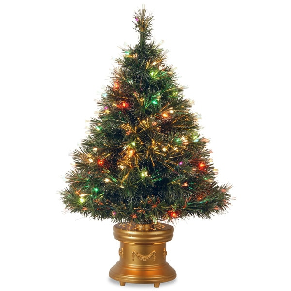 36-inch Fiber Optic Ice Tree with Revolving LED Gold Base and 50 Multi Lights