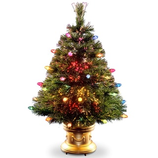 48-inch Fiber Optic Tree with Multi Faceted Bulbs and Gold Base