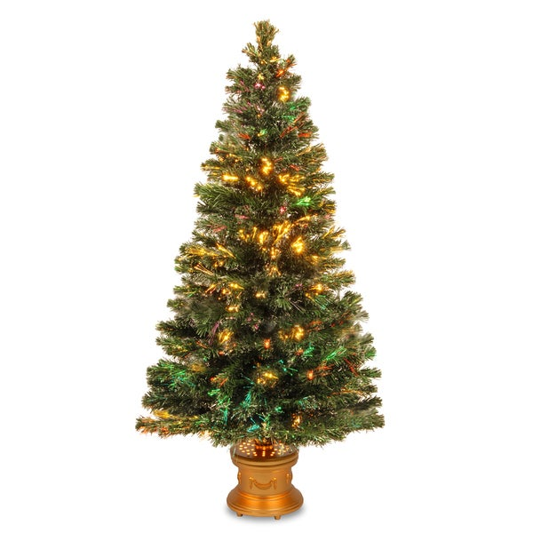 60-inch Fiber Optic Evergreen Firework Tree with Top Star and Gold Base