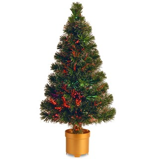 32-inch Fiber Optic Evergreen Firework Tree with Top Star and Gold Column Base-Multi Color Wheel
