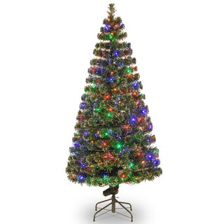 72-inch Fiber Optic Evergreen Tree with 200 Multi Lights in a 16-inch Stand