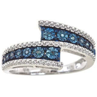Sterling Silver .07ct TDW Blue Diamond Illusion Ring