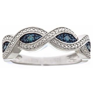 Sterling Silver .1ct TDW Blue Diamond Eye Pattern Ring