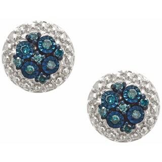 Sterling Silver 1/10 TDW Blue Diamond Round Earrings