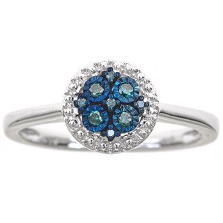 Sterling Silver .07ct TDW Blue Diamond Circle Ring