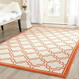 Safavieh Indoor/ Outdoor Amherst Ivory/ Orange Rug (6' x 9')