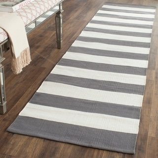 Safavieh Hand-woven Montauk Grey/ White Cotton Rug (2'3 x 9')