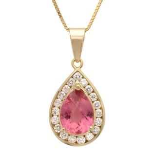14k Yellow Gold 4/5ct TDW Diamond and Pink Tourmaline Pendant (G-H, SI1-SI2)