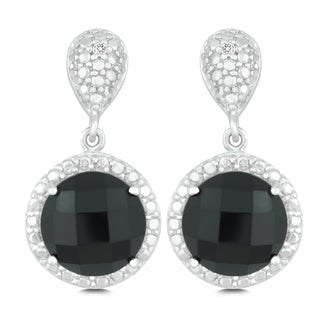 La Preciosa Sterling Silver Faceted Onyx Diamond Accent Circle Earrings