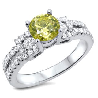 Noori 18k Gold 1 1/10ct TDW Round-cut Canary Yellow Diamond Engagement Ring (SI1-SI2)