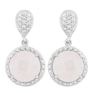 La Preciosa Sterling Silver Faceted Rose Quartz Diamond Accent Circle Earrings