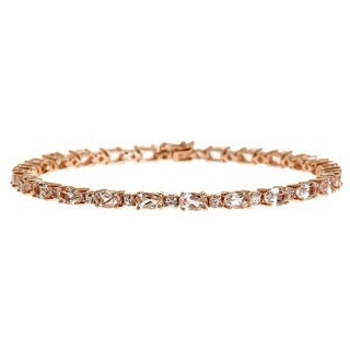 Anika and August 14k Rose Gold Morganite and White Sapphire Bracelet