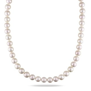 Miadora 14k White Gold Cultured Akoya White Pearl Necklace (8.5-9 mm)