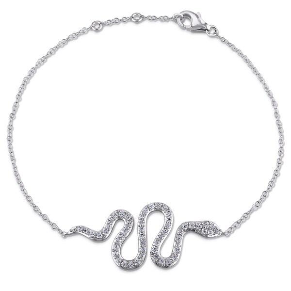 Miadora Sterling Silver White Topaz Snake Bracelet