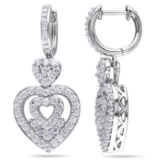 Miadora Silver Created White Sapphire and 1/10ct TDW Diamond Heart Earrings (H-I, I2-I3)