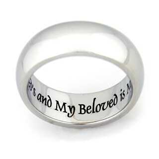 I Am My Beloved And My Beloved Is Mine' Stainless Steel Ring