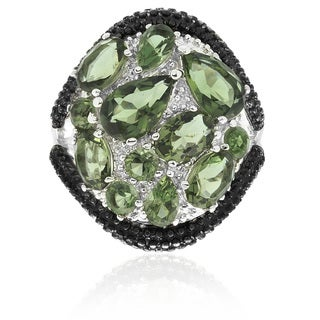 Dolce Giavonna Silver Overlay Simulated Green Topaz Cocktail Ring