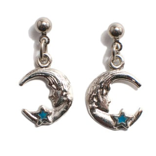 Turquoise Inlaid Moon and the Stars Earrings