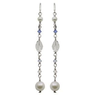 Pearls For You Sterling Silver White Freshwater Pearl Crystal Dangle Earrings (4-8 mm)